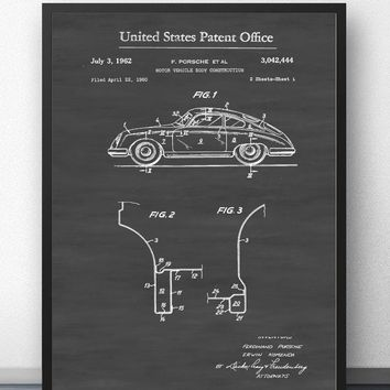 1962 Porsche Patent Blueprint Wall Art Paint Wall Decor Canvas Prints Canvas Art Poster Oil Paintings No Frame