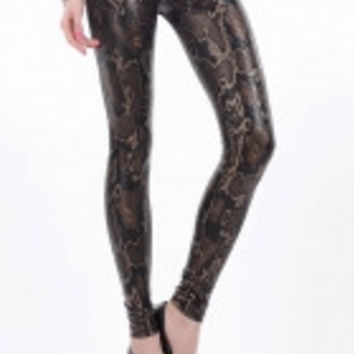 High Waist Snake Texture Metallic Legging Brown