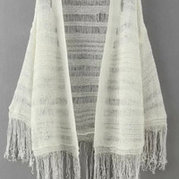 White Long Sleeve Fringed Knitted Cardigan