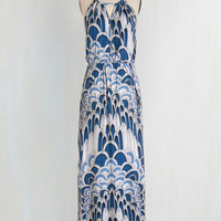 Long Sleeveless Maxi Ink Positively Dress in Feathers