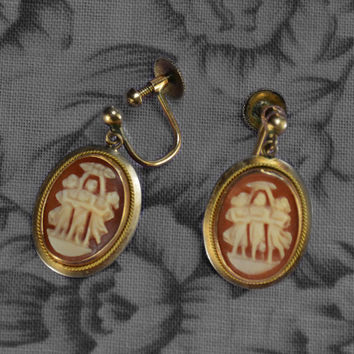 Antique Hand Carved Cameo Clip-on Drop Earrings, Vintage Hand Carved Shell Portrait Jewelry, The Three Graces Cameo Earrings, Clip Ons
