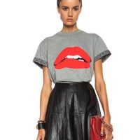 Lip Graphic Cotton Tee in Grey