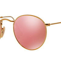 RAY BAN RB 3447 GOLD WITH PINK FLASH MIRROR LENSES