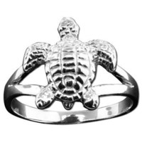La Islenita Silver Textured Turtle Ring
