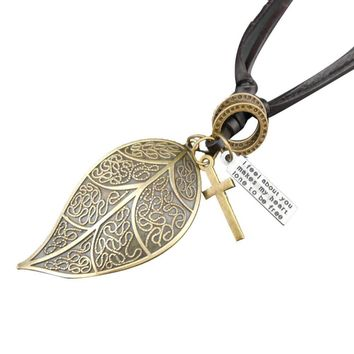 Influx Men And Retro Leather Leaf Necklace Leather Cord Necklace GD
