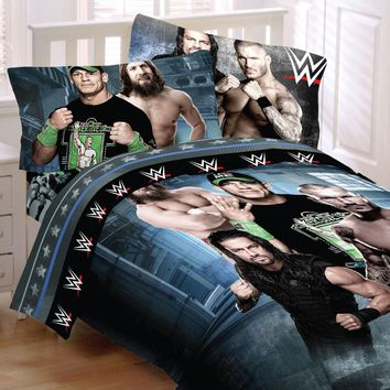 WWE Wrestling Bedding Set John Cena Industrial Strength Comforter and Sheet Set