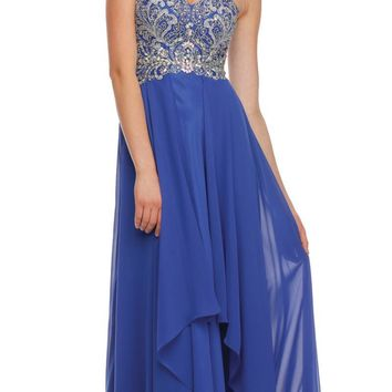 Layered Strapless Sweetheart Neckline Royal Blue Prom Dress