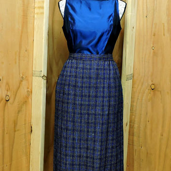 Blue plaid silk wool skirt / woven fringed skirt / size M / high waisted 1980s mid length blue / black skirt / Gloria Betker