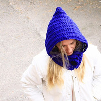 Women crochet pixie hat with buttons chunky hood in royal blue winter fashion, Leto Hat with buttons