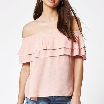 ONETOW LA Hearts Double Ruffle Off-The-Shoulder Top at PacSun.com