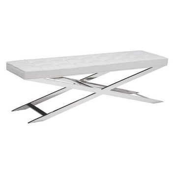 Pontis Bench White Polished Stainless Steel