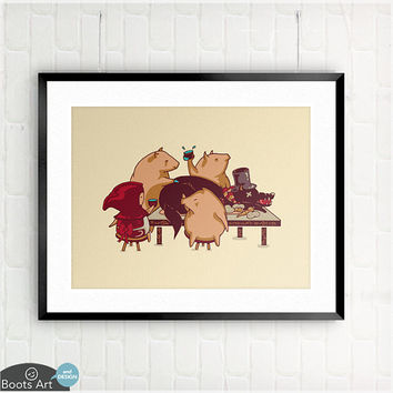 Dinner with Friends - matted art print. - 5x7 or 8x10. The Three Little Pigs and Red Riding Hood share a holiday feast.