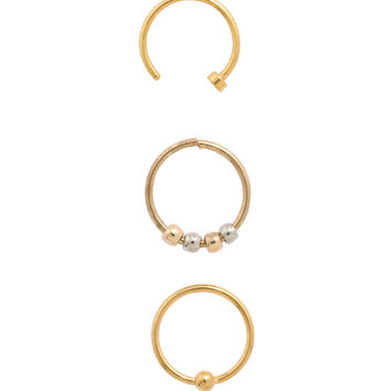 Steel Gold Plated Bead Nose Hoop 3 Pack