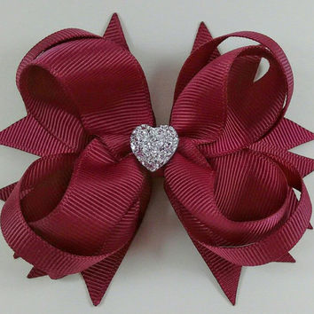 Wine Stacked Boutique Hair Bow with Sparkly Heart~ Gift for Her~ Gift for Child~ Photo Prop~ Wine Hairbow~ Wine Hair Bow~ Gift~ Party Favor