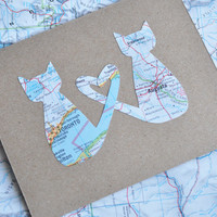 Long Distance Relationship Map Card Love Cats Greeting Card Custom