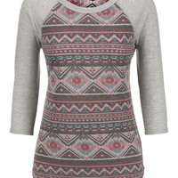 3/4 Sleeve Ethnic Print Baseball Tee - Gray