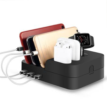 Airpods Apple Watch and Cell Phone Charging Dock iwatch Stand Holder Quick Charge Usb Charger Hub Multi Port Electronic Device Docking Station Organizer for Multiple Devices iphone ipad Kindle Tablet