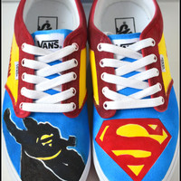 Custom Mens Shoes, Custom Superman Shoes, Mens Superman Shoes, Painted Vans, Painted Superman Vans, Custom Vans, Superman Vans, Vans