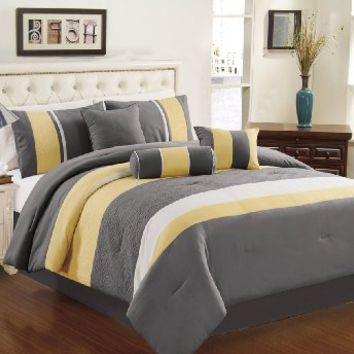 Chezmoi Collection 7-piece Sunvale Yellow Grey White Comforter Bedding Set (King)