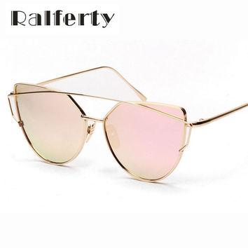 Vintage Cat Eye Sunglasses Women Brand Designer Twin-Beams Shades Female Oversized Coating Mirror Flat Top UV400 Oculos 1877