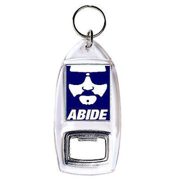 The Big Lebowski The Dude Abide clear bottle opener keychain