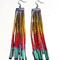 Neon Yellow Hot Pink and Mint Leather Fringe Earrings by Beatniq