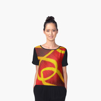 'Red Velvet Squiggle' Women's Chiffon Top by ChessJess