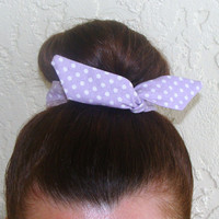 "Top Knot Wire Wrap Light Purple with White Polka Dots ""Mini"" Dolly Bow Wire Headband Ponytail Hair tie Hair Bun Tie Wrap"