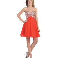 Orange Short Sweetheart Sequin Dress 2015 Homecoming Dresses