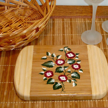 Bamboo Trivet/ Spoon Rest With Red Flowers and Green Leaves