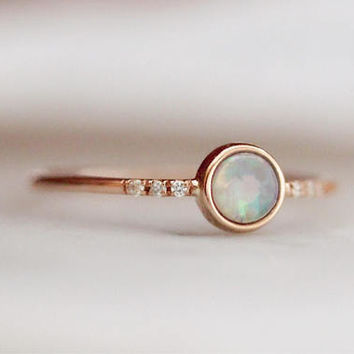 "14K ""Dreamy"" Opal Bezel Ring with Pave Setting, Diamond Opal Ring, Stacking Ring, Dreamy Stone, Boho Jewelry, October Birthstone"