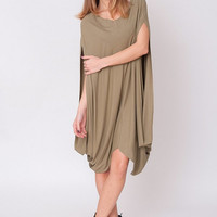New Olive Brown Dress – Chic Draped Tunic Cocoon Space Age Tent Oversized Yoga Boho Cocktail Evening Party Modern Prom Gown Size S M L