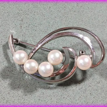 Sterling Silver Brooch White Pearls Genuine Luminescent for Bride Mother of the Bride or Groom Elegant Graceful Design Hallmarked STERLING