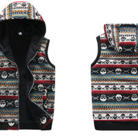 New 2014 Autumn Winter Mens Casual Hooded Skull Print Vest Men High Quality Cotton-padded Waistcoat Spring Sleeveless Jacket Hot