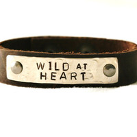 Wild at Heart Bracelet...Silver...Handstamped...Cowgirl...Shabby...Modern...Simple...Free Shipping