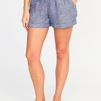 Mid-Rise Linen-Blend Pull-On Shorts for Women|old-navy