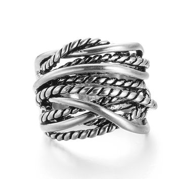 VAGULA Vintage Silver-Color Knitting Rings Copper RIngs  Biker Rings for men Jewelry S139