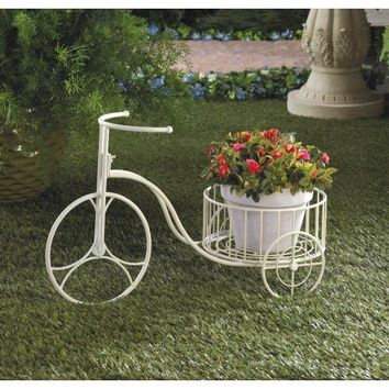 White Metal Tricycle Plant Holder