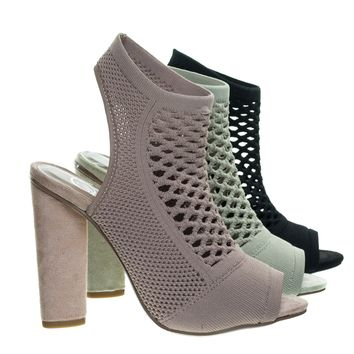 Vinson Mauve Pink by Delicious, Perforated Stretch Knit Block Heel Sandal Bootie