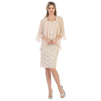 CLEARANCE - Khaki Short Wedding Guest Dress with Chiffon Bolero Jacket (Size XL)