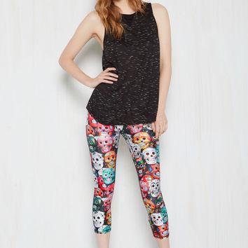 Groove Been Served Yoga Pants in Skulls - Cropped | Mod Retro Vintage Pants | ModCloth.com