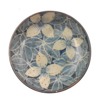 Vintage Flower Blue Miniature Tray Brown Mini Ceramic Japanese Indigo Pottery Floral Leaf Relish Condiment Saucer China Plate