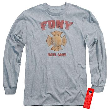 FDNY Long Sleeve T-Shirt New York City Fire Dept Vintage Heather Tee