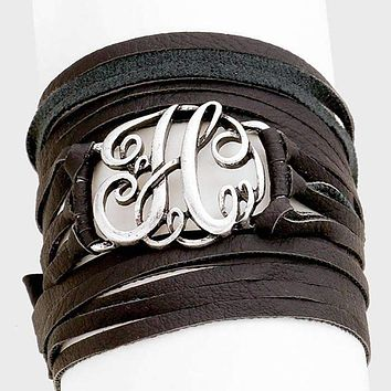 H Monogram Faux Leather Wrap Bracelet