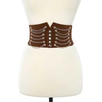 Draped chain wide detailed stretch belt