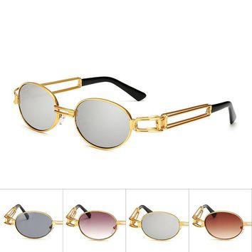Vintage Small Steampunk Goggles Oval Sunglasses Women Men Gothic Sun Glasses Gold Frame Eyewear Pink Punk Oculos De Sol Feminino