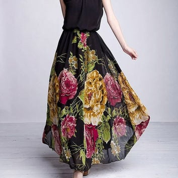 Black Floral Printed Maxi Dress