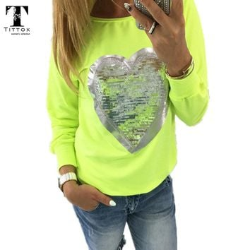 Fawshion Autumn t shirt women heart sequin top round neck heart shape blusa long sleeve woman shirts tops ladies tshirts tee