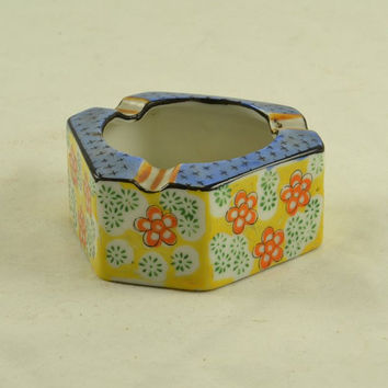 Hand Painted Japan Ashtray Trico Nagoya - Vintage Trinket Dish Pentagon Shape - Bright Orange Yellow Blue Floral