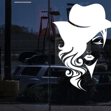 Window Large Vinyl Decal Wall Sticker Logotype Women Face Long Hair with Hat Decor for Fashion Store or Beauty Salon (n969w)